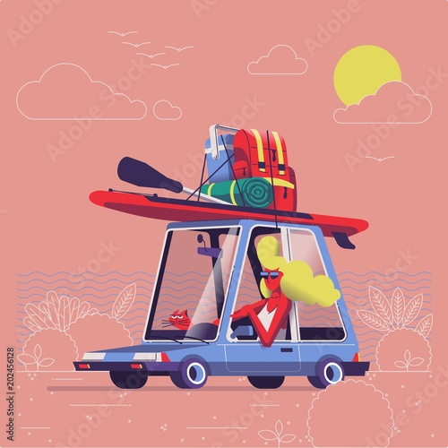 Foto op Canvas Cartoon cars girl driving car with surf equipment on top