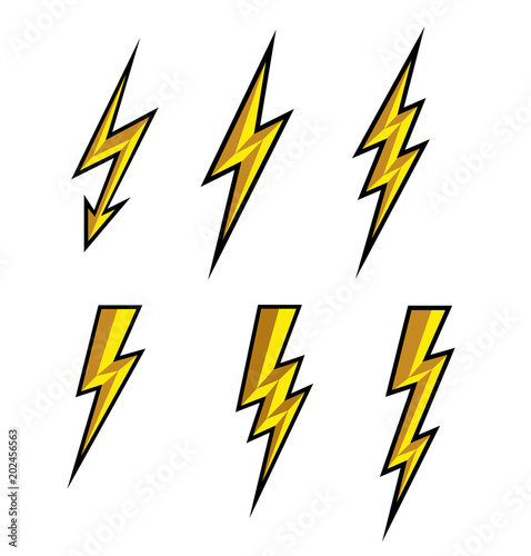 Lightning Thunderbolt Icon Vector Flash Symbol Illustration Lighting Flash Icons Set Flat Style On White Background And Black Outline Silhouette And Lightning Bolt Icon Set Of Yellow Icons Storm Buy This Stock Vector And