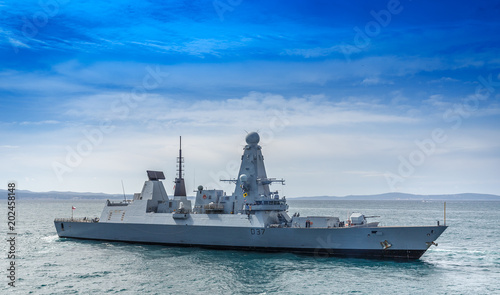 SPLIT, CROATIA - APRIL 10, 2018: HMS Duncan (D37) Wallpaper Mural