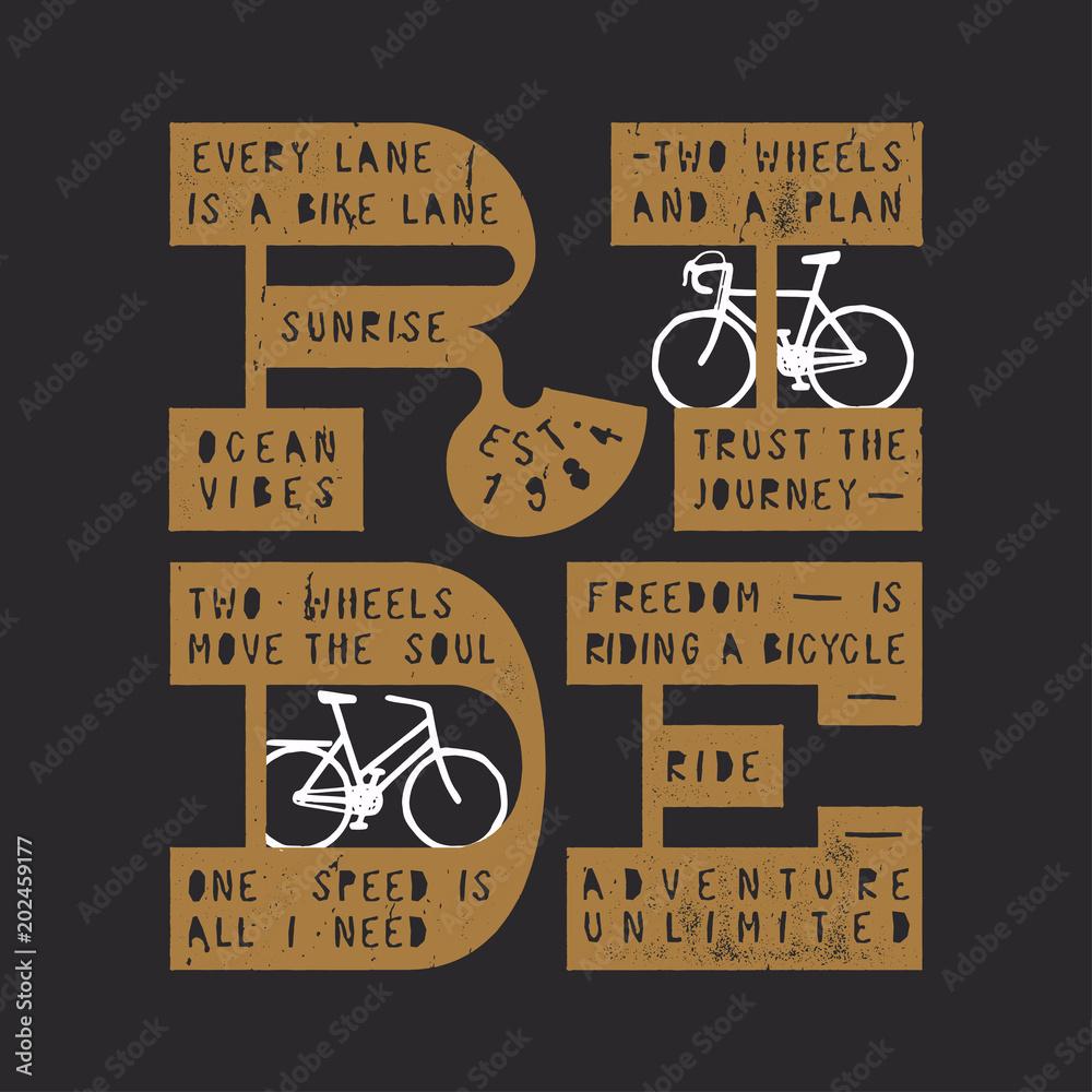 Przejażdżka tekstem rowerowym - drukowany typograficzny rower typu vintage