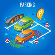 Isometric Parking Colored Background
