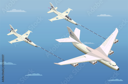 Aerial Refuelling Isometric Composition Poster
