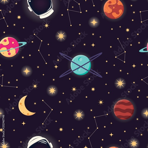 universe-with-planets-stars-and-astronaut-helmet-seamless-pattern-cosmos-starry-night-sky-vector-illustration