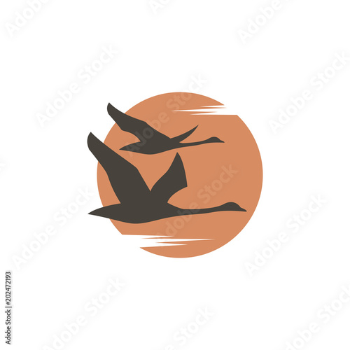 abstract icon with flying swans and sun