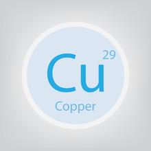 Copper Cu Chemical Element Icon- Vector Illustration