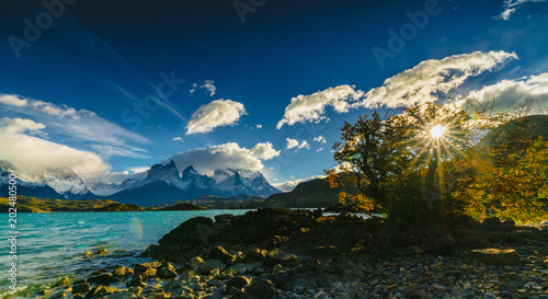 Fotografie, Obraz  View of Torres Mountains in the Torres del Peine National Park during sunrise