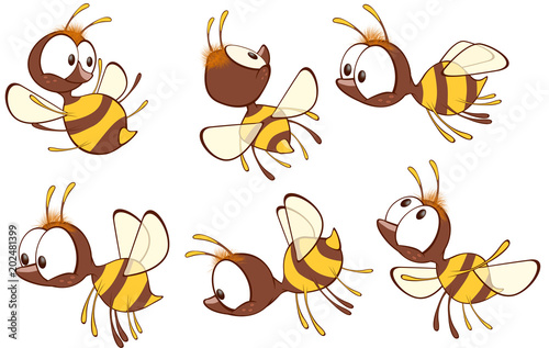 Foto auf AluDibond Babyzimmer Illustration of a Cute Yellow Bee. Cartoon Character