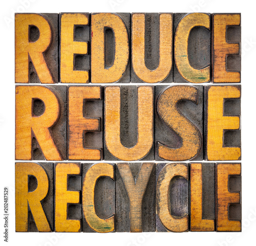 Fotografía  reduce, reuse and recycle - resource conservation concept