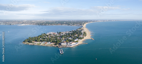 Sandbanks peninsular from the air on a blue sunny day Wallpaper Mural