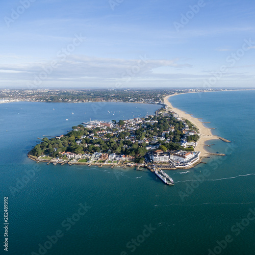 Sandbanks peninsular from the air on a blue sunny day Canvas Print