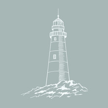 The Lighthouse Sketch. Hand Dr...