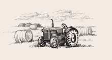 Old Tractor With A Rural Scene