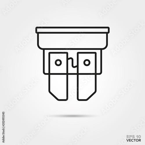 car fuse vector line icon  automotive parts  repair and