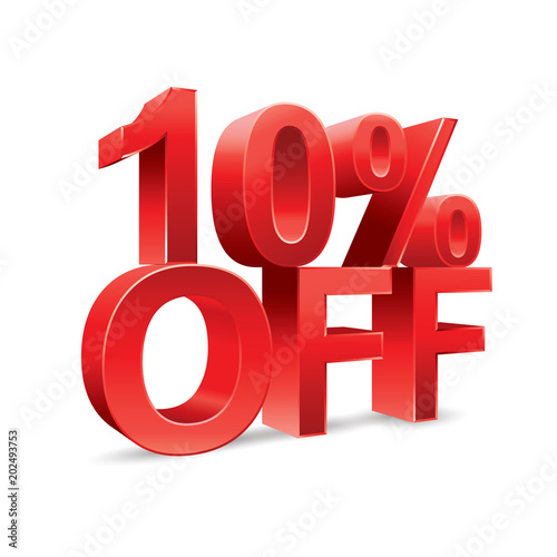 Fotografía  10 percent off Promotional discount on white background
