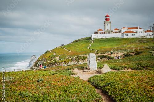 Foto auf AluDibond Himmelblau Lighthouse of Cabo da Roca (Portugal)