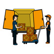 color delivery men with packages and platform trolleys