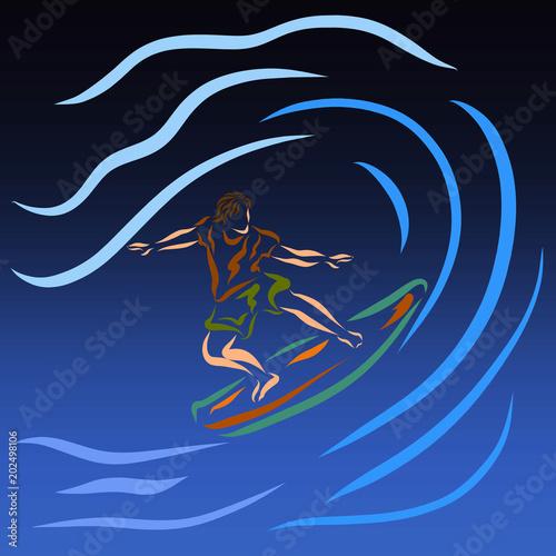 Photo Stands Dark grey Man on surfboard, wave conquest