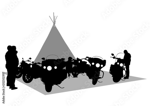 Fotomural Old big bike of america on white background