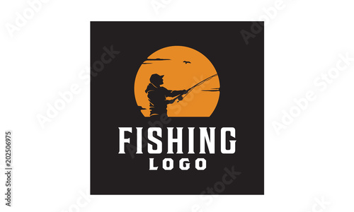 Fotografía Angler Fishing Silhouette logo illustration at Sunset Outdoor design inspiration