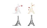 Fototapeta Fototapety z wieżą Eiffla - Simple Eiffel Tower clip art with Heart and Plane Logo design inspiration