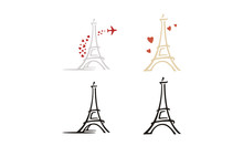 Paris Eiffel Tower With Heart Love Plane Travel Logo Design Inspiration