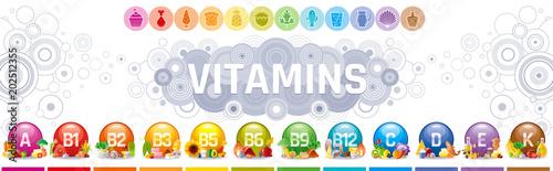 Fotografia  Mineral Vitamin multi supplement icons