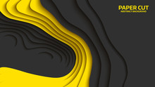 Black And Yellow Wave. Abstract Paper Cut. Abstract Colorful Waves. Wavy Banners. Color Geometric Form. Wave Paper Cut. Map Line Of Topography. Map Mockup Infographics. Vector Illustration