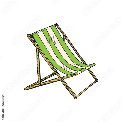 Canvas Print Green striped deck chair, hand drawn doodle, sketch in pop art style, vector ill