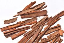 Broken Cinnamon Close-up On Wh...