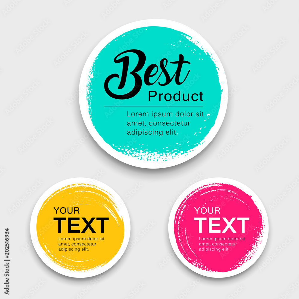 Fototapeta Colorful label paper circle brush stroke style collections, vector illustration