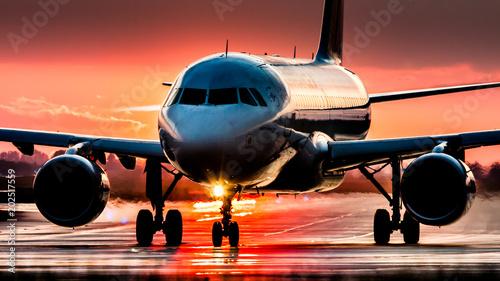 Türaufkleber Flugzeug Sunset