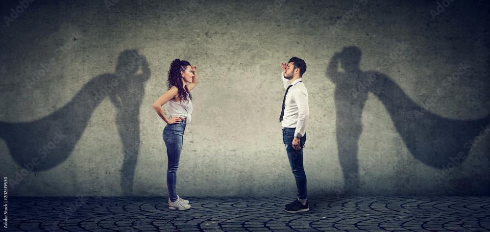 Fotografía Brave man and woman posing as super hero
