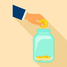 Money Store Icon. Flat Illustr...