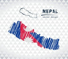 Nepal Vector Map With Flag Ins...