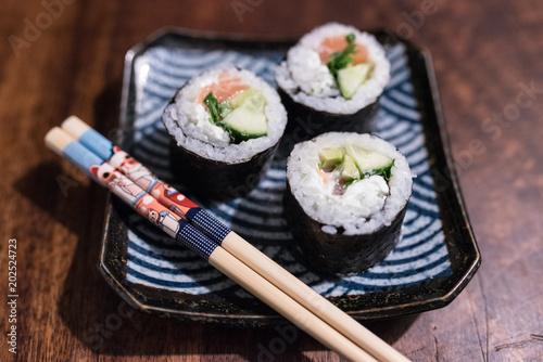 Poster Sushi bar sushi plate with cute chopsticks