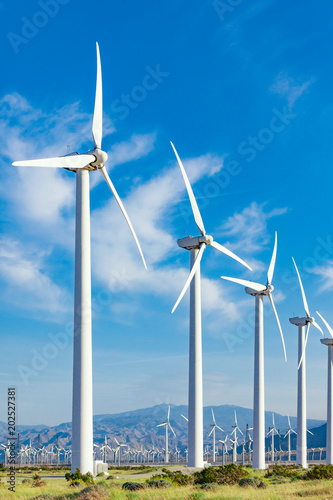 Fotografie, Obraz  Dramatic Wind Turbine Farm in the Desert of California.
