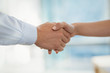 Executives shaking hands in office