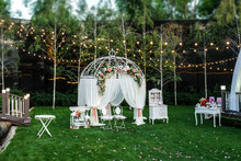 White Arch For The Wedding Ceremony
