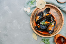 Steamed Mussels In White Wine Sauce. Top View, Copy Space