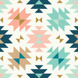vector kilim tribal cream green and pink seamless repeat backround - 202539137