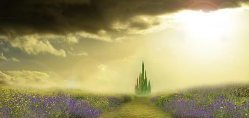 emerald city and yellow bri...