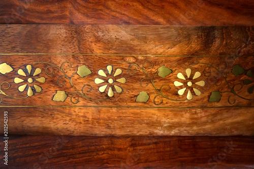 Texture expensive mahogany inlaid yellow metal Slika na platnu