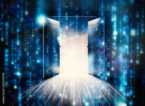 Fotografering Doors opening to reveal beautiful sky against lines of blue blurred letters fall