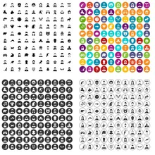 100 Avatar Icons Set Vector In 4 Variant For Any Web Design Isolated On White