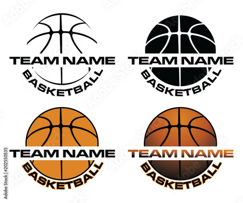 Basketball Designs With Team Name is an illustration is an illustration of a four versions of a basketball design that can be used for t-shirts, flyers, ads or anything else Wallpaper Mural