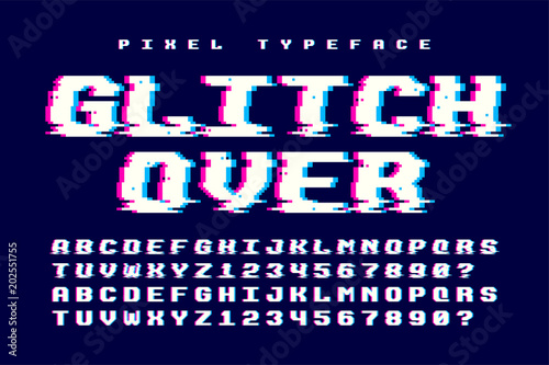 Fotobehang Draw Pixel vector font design with glitch effect. 2 in 1