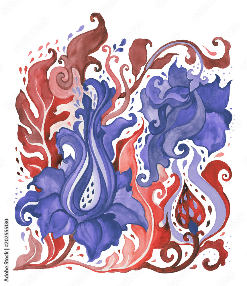 Paisley. Hand Drawn Boho ornament. Watercolor Hand painted illustration, isolated