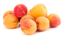 A Bunch Of Apricot Fruit Isolated On White Background Cutout