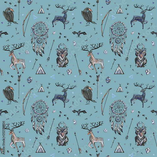 Cotton fabric Tribal hand drawn background, ethnic seamless pattern with animals and dream catcher
