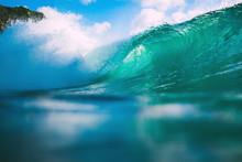 Crashing Ocean Blue Wave. Breaking Barrel Wave